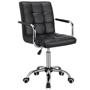 Yaheetech Bürostuhl Drehstuhl Arbeitshocker Drehocker, höhenverstellbar aus Kunstleder Schwarz