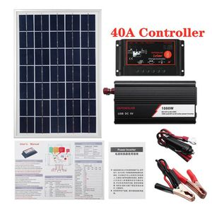 1000W Solarpanelsystem Solarpanel 40A Laderegler Solarwechselrichter-Kit Kompletter Solarpanel-Koffer zur Stromerzeugung