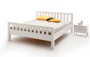Komfortbett Bett weiß lackiert Kernbuche massiv stabil Seniorenbett Ehebett