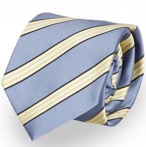 Schlips Krawatte Krawatten Binder 8cm hellblau gelb gestreift - Fabio Farini