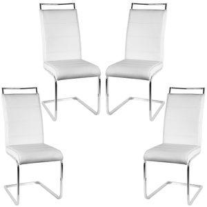4er Set Esszimmerstühle Stühle  Freischwinger Stühle Bow Esstischstuhl Küchenstuhl Barstuhl - hohe Rückenlehne,Weiß