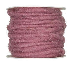 10m Wollschnur mit Juteseele Wollband Wolle Dekowolle Filzkordel D ca. 5mm, Farbe:altrosa