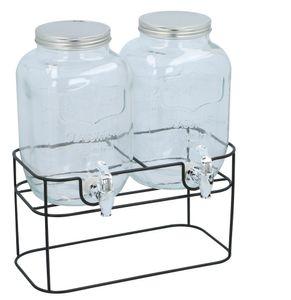 Cuisine Elegance Getränkespender mit Ständer 2 x 4 Liter - Cocktails, Wasserspender, Saftspender, Karaffe, Glas Zapfhahn - Transparent/Schwarz