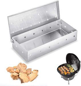 Räucherbox, Smoker Box aus Edelstahl für BBQ, Aroma beim Grillen Smokerbox für Kugel, Kohle und Gasgrill Robustes Grillzubehör Räucherkasten - 22 * 9.5 * 4 cm