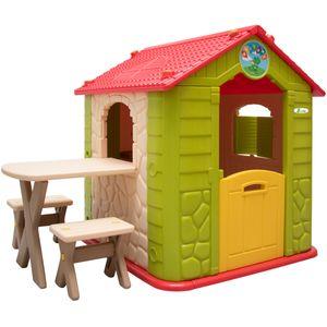 eyepower Kinderspielhaus mit Tisch und 2 Bänken Spielhaus KS-114 aus Kunststoff für Jungen und Mädchen