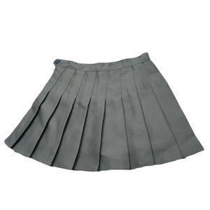 Frauen Sommer einfarbig hoch tailliert plissiert A-Linie Mini-Tennisrock grau S.