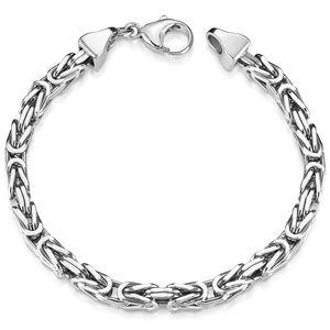 MATERIA Königskette Silber Herren Armband 5mm 31,5g diamantiert rhodiniert in 20 21 22 23cm SA-10, Länge:21 cm
