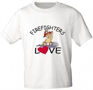 Kinder T-Shirt mit Print - Feuerwehr - FIREFIGHTERS LOVE - 08118 - weiß - Gr. 86-164 Größe -