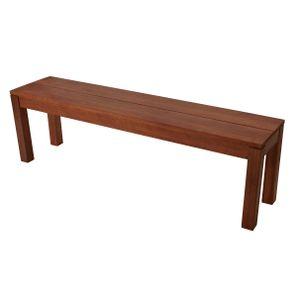 DEGAMO Gartenbank Hockerbank Sitzbank ohne Lehne BRASILIA 3-sitzer 150cm, Holz Eukalyptus geölt