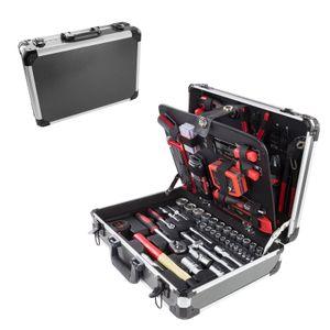 Alu Werkzeugkoffer mit Werkzeug 176 tlg Aluminium Werkzeugkasten Werkzeugsset