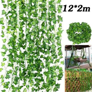 12 Pcs Efeugirlande Efeubusch Grünpflanze Künstliche Kunstpflanze Deko Hochzeit