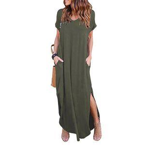 Damen super langes Plus Size Taschenkleid Bohemienkleid,Farbe: Armeegrün,Größe:M