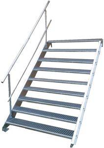 Stahltreppe 9 Stufen-Breite 100cm Variable-Höhe 135-180cm mit einseit. Geländer