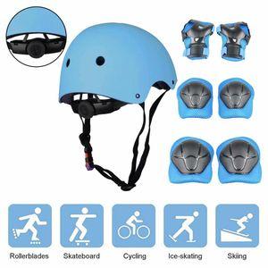 Schonerset Kinder Protektoren Schützer inliner Schutzausrüstung Kinder Knieschoner Set mit Helm für inliner Skateboard Fahrrad Rollschuh,Blau