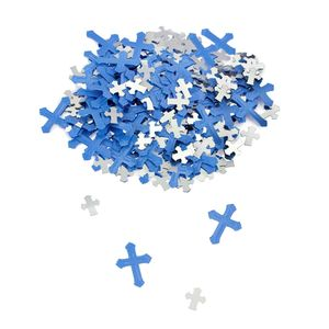 Oblique Unique Deko Kreuze Konfetti Streudeko Konfirmation Taufe Kommunion - blau silber