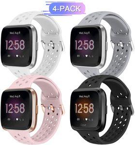 Sportband Kompatibel mit Fitbit Versa/Versa 2/Versa Lite/SE, atmungsaktives Ersatzarmband aus weichem Silikonband für Damen Männer (Schwarz + Weiß + Grau + Rosa Sand)