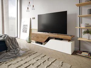 Mirjan24 TV-Lowboard Ceelias, Stilvoll TV-Schrank vom Hersteller, RTV-Tisch, Mediaschrank (Farbe: Weiß / Wotan)