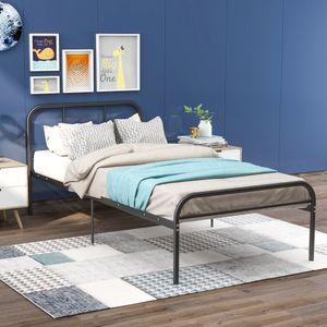 Jugendbetten Einzelbett Bett 90x200 cm, Einfacher Metallbettrahmen Jugendbett Gästebett Bet,schwarz