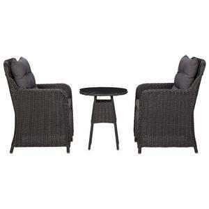 vidaXL Gartenstühle 2 Stk. mit Teetisch Poly Rattan Schwarz