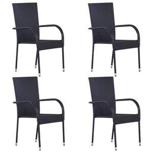 vidaXL Stapelbare Gartenstühle 4 Stk. Poly Rattan Schwarz