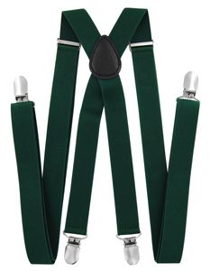 axy® Grün Herren Hosenträger 2,5cm breite mit 4 Stabile Clips X-Form länge verstellbar Hochzeit-Business Outfit