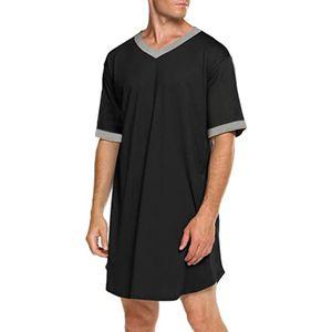ZANZEA Herren Kurzarm Pyjama Loose Nightshirt Long Tops Lounge Wear Nachtwäsche, Farbe: Schwarz, Größe: 4XL