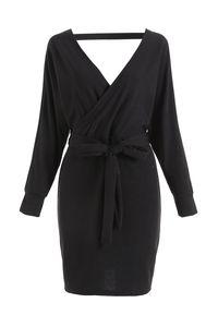Pulloverkleid Damen Kleider Elegant Strickkleid V-Ausschnitt Langarm Tunika Kleid Minikleid Mit Gürtel XXXL
