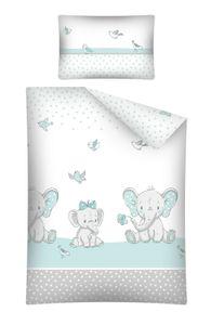Kinderbettwäsche Babybettwäsche  100x135 & 40x60 Elefant mit Bogen Blau