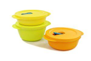 TUPPERWARE Mikrowelle CrystalWave 800ml limette+600ml orange+400 gelb Micro Pop + SPÜLTUCH