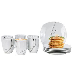Van Well Frühstücksservice Silver Night, 12tlg 6 Personen, 6 Kaffeebecher + 6 Teller, Linien-Dekor