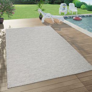 In- & Outdoor-Teppich Für Wohnzimmer, Balkon, Terrasse, Flachgewebe In Taupe, Grösse:160x220 cm