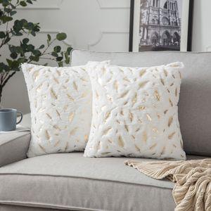 2er Set Plüsch Kissenbezug 45 x 45 cm Gold Feder Dekokissen Kissenhülle für Couch Sofa Home Bett Deko, Weiß