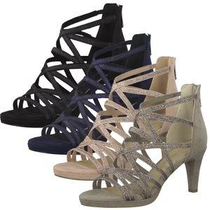 MARCO TOZZI Damen Sandalen Riemchensandalen High Heels 2-28373-26, Größe:38 EU, Farbe:Beige
