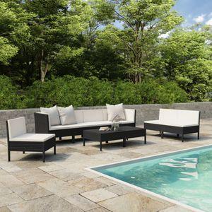 Hochwertigen Garten Sitzgruppe Gartengarnitur - 9-teiliges Garten-Lounge-Set - Gartengarnitur Set mit Auflagen Poly Rattan Schwarz☆9338