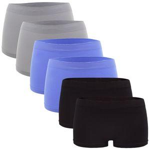 6er Pack Seamless Damen Panties Hipsters Boxershorts Perfekter Sitz, Größe:40/42, Farbe:Hellblau/Hellgrau/Schwarz