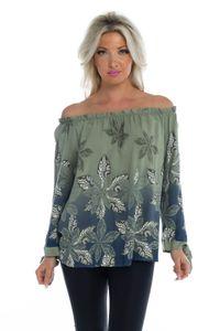 Off Shoulder Oversize Shirt mit Ornament-Print, Farbe: Grün, Größe: One Size (Einheitsgröße)