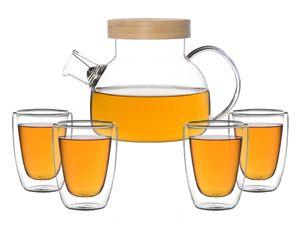 Kira Teeset / Teeservice / Teekanne Glas 900ml mit Tüllensieb, Bambusdeckel und 4 doppelwandige Teegläser je 200ml