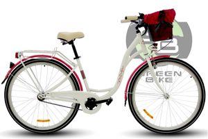 PolBaby Fahrrad Dutch Goose Pure City Fahrrad 3 Gänge 26 Zoll Weiße Himbeere