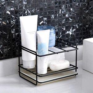 Schwarz Spülbecken Organizer für Küche, schwammhalter, schwammhalter waschbecken perfekt zur Aufbewahrung von Lappen, Spülmittel, Spülbürste und Spülschwamm an einem Ort,Schwarz