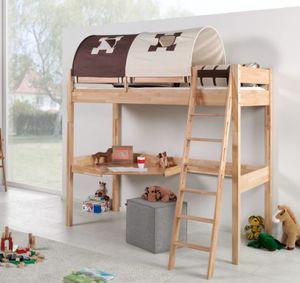 Hochbett RENATE Multifunktionsbett mit Schreibtisch Bett Buche Stoffset Burg