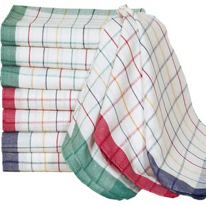 Deuba Geschirrtücher Set 45x70cm Küchentücher kariert 100% Baumwolle Geschirrhandtücher 60 Grad waschbar saugstark Küche, Menge:10er Set