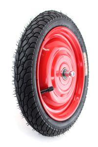 Set: Scheibenrad, Felge 12,5 Zoll mit 8mm Achse, Rot mit Reifen und Schlauch Autoventil, fertig montiert für Anhänger, DDR Handwagen, Laufrad