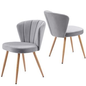 Esszimmerstühle Samt 2er set Wohnzimmerstuhl mit Rückenlehne stuhl skandinavisch Sitzfläche aus Samt weich Stuhl mit Rückenlehne küchenstuhl Metallbeine Grau