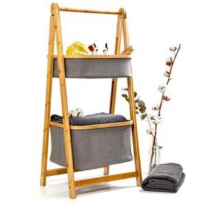 blumfeldt Badezimmer-Regal , Wäschesammler , Korbregal , Badezimmer-Möbel , 2 Etagen , einfacher Aufbau , aus Bambus , 2 Ablagekörbe , zusammenklappbar , hellbraun / grau