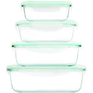 Cuisine Edition Klick-it Glas-Frischhaltedosen Set 8-tlg. mint, 4 Glasschüsseln mit passendem Deckel mit Mikrowellenventil, geeignet für Backofen, Mikrowelle & Gefrierfach, BPA-frei