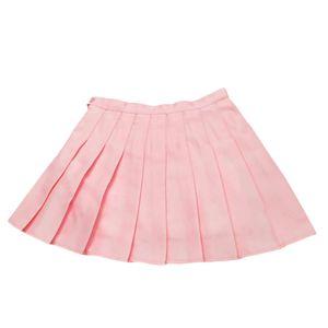 Frauen Sommer einfarbig High Waist Plissee A-Linie Mini-Tennisrock Pink XXL