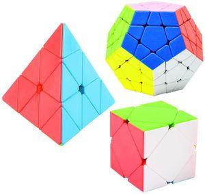 Zauberwürfel Set, Megaminx 3x3 Stickerless, Pyraminx 3x3 Stickerless, Skewb Cube Stickerless, 3D Puzzle Würfel Spielzeug für Kinder, 3 Pack