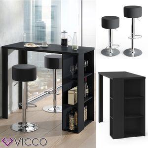 VICCO Bartisch NOEL Tresentisch Tisch Ablagefächer 120 x 105,6 x 60 cm Schwarz inkl. 2 Barhocker