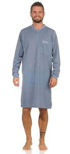 Herren Nachthemd langarm Sleepshirt Nachtwäsche, Blau-Grau XL