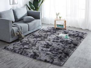 Hochflor Teppich Wohnzimmerteppich Langflor Teppiche für Wohnzimmer flauschig Shaggy Schlafzimmer Bettvorleger Outdoor Carpet (160 x 230 cm, Schwarz mit Muster)